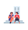 woman female friends sitting chatting and smiling vector image vector image