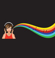 woman with headphones vector image
