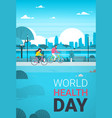 world health day background with couple riding vector image