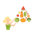 young woman with a pyramid of vegetables and vector image
