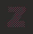 z dotted alphabet letter isolated on black backgro vector image