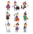 cute little halloween witch girl harridan broom vector image