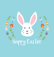 cartoon easter greeting card with white rabbit vector image