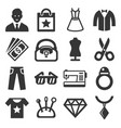 fashion and shopping icons set vector image