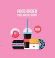 fast food icons drink hamburger hot dog donut vector image