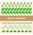 Seamless ornaments of the pixel green leaves vector image