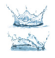 3d realistic set with blue water splashes vector image vector image