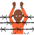 african american prisoner in broken handcuffs vector image