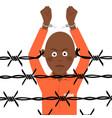 african american prisoner in broken handcuffs vector image vector image
