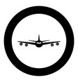 airplane icon black color in circle or round vector image vector image
