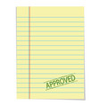 approved stamp on old blank paper vector image vector image