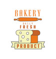 bakery daily fresh product bread shop badge vector image vector image
