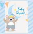 bashower cute bear half moon with star cartoon vector image vector image