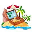 beach item on island vector image vector image