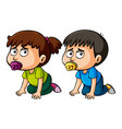 boy and girl toddlers crawling on floor vector image