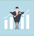 businessman thumbs up with growth graph vector image vector image