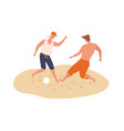 cheerful men playing football on summer beach vector image vector image