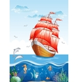 Childrens of a sailboat with red sails and the vector image vector image
