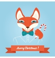 Christmas cute forest fox head logo modern vector image vector image