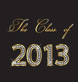 class of 2013 gold and diamonds design vector image