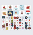 collection christmas stickers isolated vector image vector image