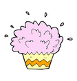 comic cartoon exploding cupcake vector image vector image