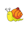 cute snail sleeping isolated cute snail vector image vector image