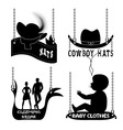 Different signboards of hats and clothes vector image vector image
