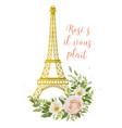 eiffel tower romantic paris gold symbol flower vector image