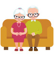 elderly couple husband and wife sitting on couch vector image vector image