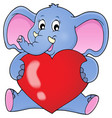 elephant holding heart theme image 1 vector image vector image