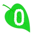 Figure zero on a green leaf vector image