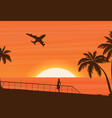 flat banner with summer travel landscape vector image vector image