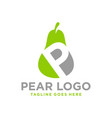 fresh pear logo with letter p vector image