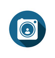 full frame square camera icon with long shadow in vector image