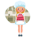 Girl cook with cake vector image vector image