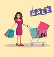 girl with shopping cart and bags sale vector image vector image