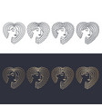 hair linear icons set vector image vector image