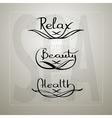 Handwritten words Relax Beauty Health vector image vector image