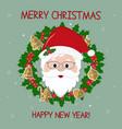happy new year and merry christmas cute santa vector image