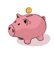 happy piggy bank on white back vector image vector image