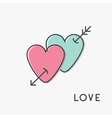 Heart arrow sign symbol Thin line icon set Pink vector image