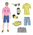 Hipster character pack for geek boy with accessory vector image vector image
