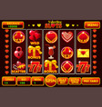 interface slot machine style st valentine vector image vector image