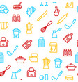 kitchen tools thin line seamless pattern vector image