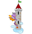 lurking dragon with castle tower vector image vector image