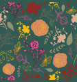mixed florals on dark green background pattern vector image vector image