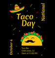 national taco day celebration cafe poster design vector image