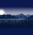 night mountains landscape with starry sky vector image vector image