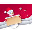 paper cut style of snowman vector image vector image